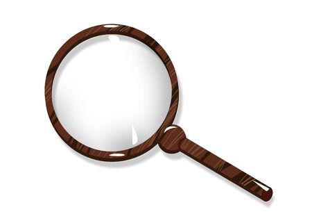 Magnifying tool magnifier. Glass lens on a mahogany handle. 版權商用圖片 - 150097612