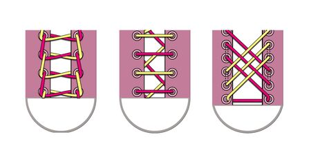 Three ways to lace shoelaces. Illustration isolated on a white background. 版權商用圖片