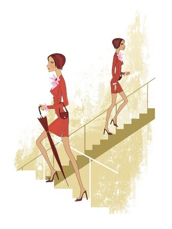 Girl in a red suit climbs the stairs. Twins. Illustration Reklamní fotografie