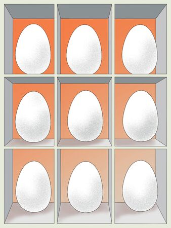 Locker with 9 lovely chicken eggs. Ideal business. Illustration.