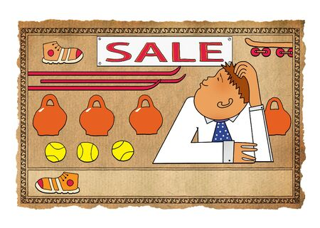 Sale at the sports store. Bored manager. Russian lubok style 版權商用圖片