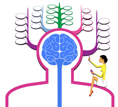 Sign silhouette of a man with a brain front view. Memory cells. The girl writes in memory. Isolated on a white background. 版權商用圖片