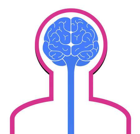 Sign silhouette of a man with a brain front view. Memory cells. Isolated on a white background. 版權商用圖片
