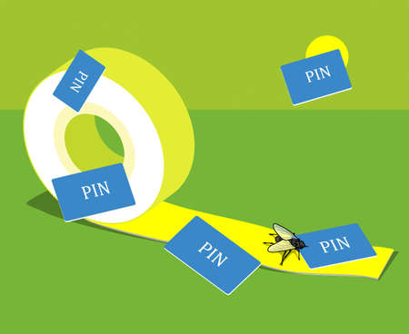 Bank card fraud. Adhesive tape with sticky fly.