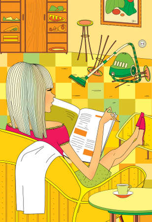 Spring-cleaning. A girl sits in an armchair and reads a fashion magazine. Mess in the room. 版權商用圖片
