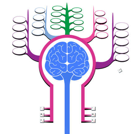 Sign silhouette of a man with a brain front view. Memory cells.  Isolated on a white background.