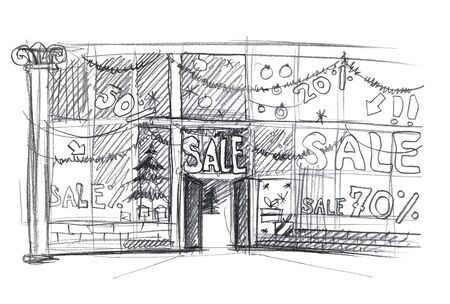 Christmas sale shop window. Sketch. Simple pencil drawing 版權商用圖片 - 150378541
