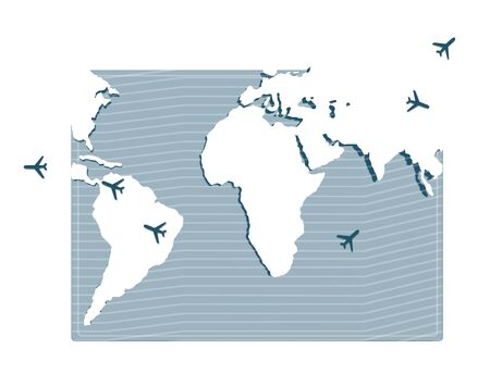 Travel Planning. Passport and airplane on a world map background.