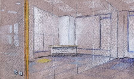 Empty glass office. Remote work. Crayon drawing
