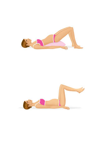 Pregnant lady.  Recommended postures for sex. Illustration isolated on a white background.