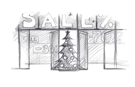 Christmas sale shop window. Sketch. Simple pencil drawing