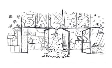 Christmas sale shop window. Sketch. Simple pencil drawing 版權商用圖片 - 150384246