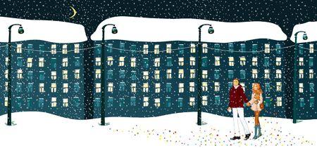 Couple walks winter evening. Falling snow. City landscape, illustration.