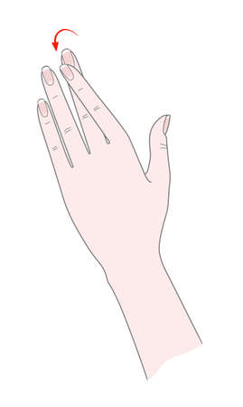 Exercise for the joints of the hand. Woman's hand with crossed forefinger. Vector. Isolated on a white background.