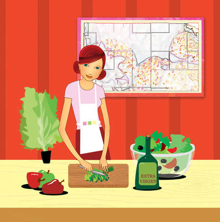 Healthy eating. Girl in the kitchen slices a salad. Illustration. 版權商用圖片