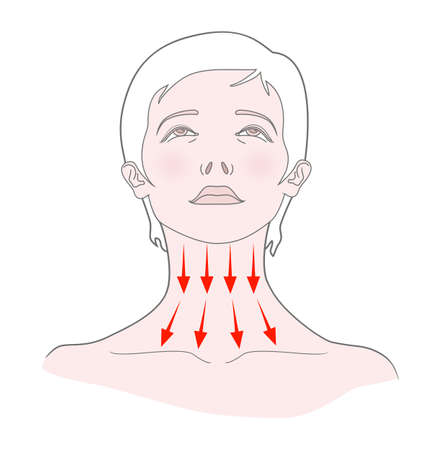 Self-massage of the neck. Woman with her head thrown back. Vector. Isolated on a white background. 向量圖像