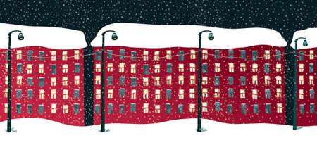 Houses under the snow. Winter evening. Falling snow. City landscape, illustration.