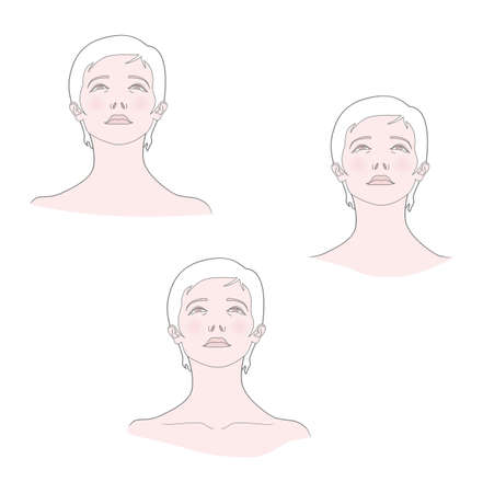 Medical template. Woman with her head thrown back. Portrait bottom view. Vector. Isolated on a white background.