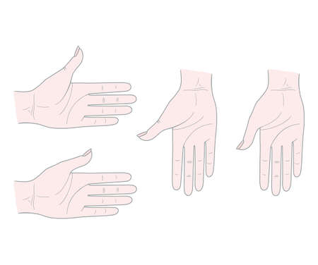 Gestures. Woman's hand with thumb inside. Isolated on a white background.
