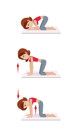 Girl does exercises on the floor against osteochondrosis. Spine training. Isolated on white background.