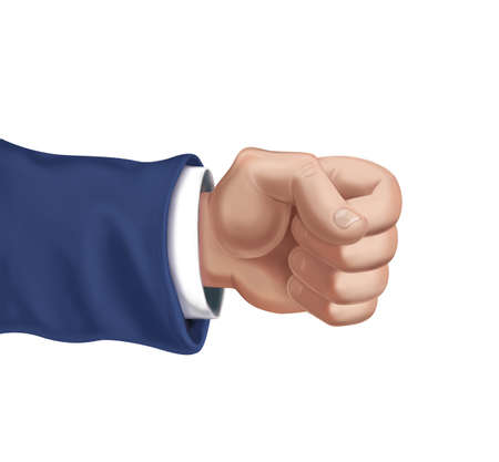 Man's hand is clenched into a fist. Hyper-realistic illustration. 3d render. Isolated on white background.