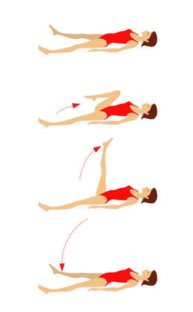 Girl in a swimsuit lying on the floor does exercises to strengthen the muscles of the abdominal press, back and legs.