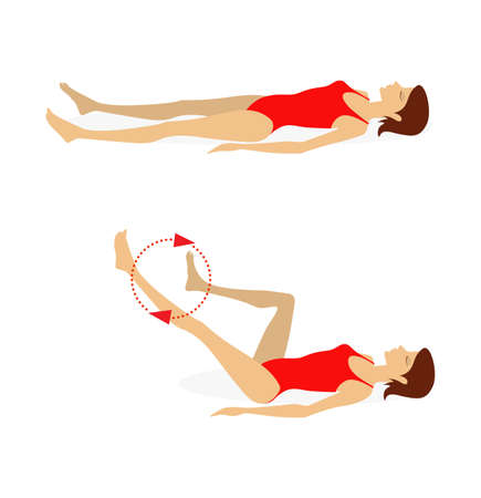 Girl in a swimsuit lying on the floor does exercises to strengthen the muscles of the abdominal press, back and legs. Vector illustration isolated on white background