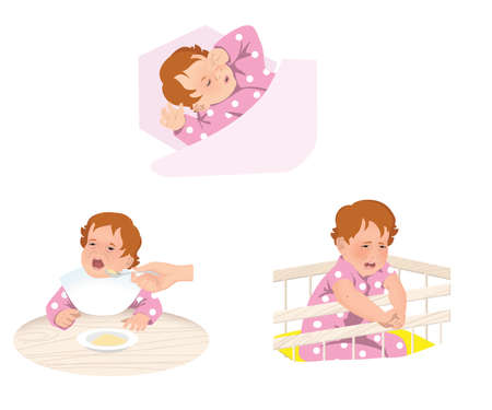 Ð¡hild is naughty and crying in the crib. Isolated on white background.