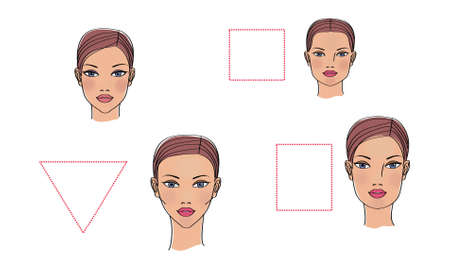 Basic forms of a woman's face illustration. Isolated on white background. Фото со стока