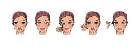 Eye make-up stages. False eyelashes. Portrait of a girl with blue eyes. Illustration. Isolated on white background. Фото со стока
