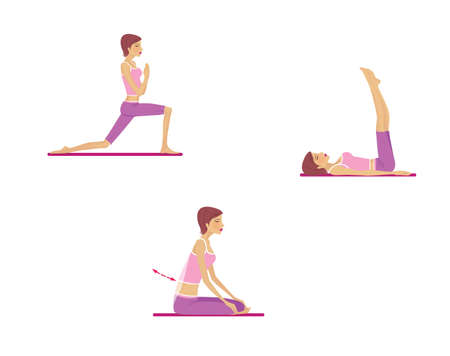Yoga for breathing and spine. Asanas. The girl trains and looses. Illustration isolated on white background Фото со стока