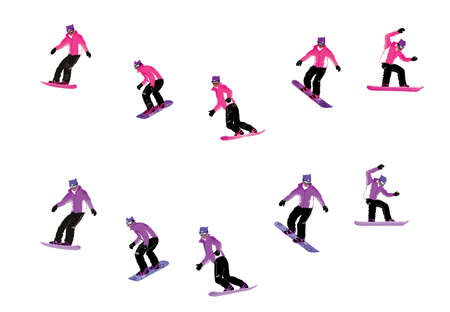 Girl goes snowboarding in different phases of movement. Illustration isolated on white background Фото со стока