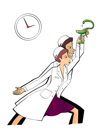 Pharmacy workers man and woman with symbols of a snake and bowls in their hands. Labor impulse and heroism. Humorous illustration
