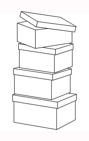 Set of boxes with lids, stack of boxes, line drawing. Vector illustration