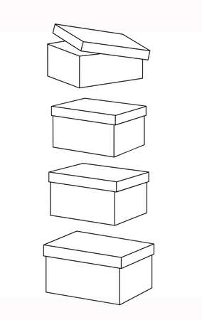 Set of boxes with lids, linear drawing. Vector illustration