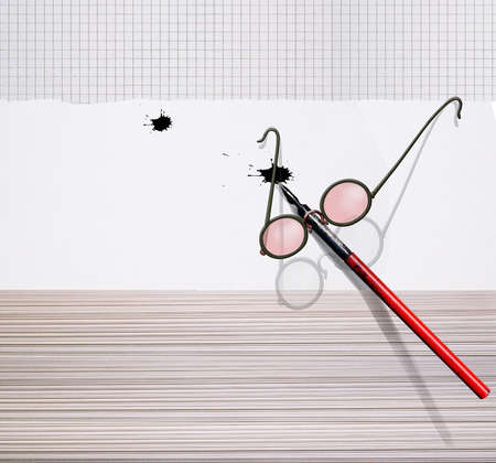 Antique fountain pen and glasses lie on a stack of paper. Mascara blot. 3d illustration. Stock Photo
