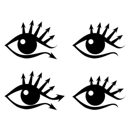 Eye with eyelashes in the form of arrows, stylized image, logo, sign. Vector illustration