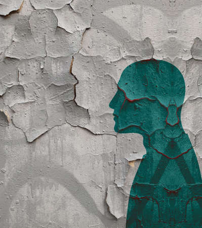Crisis and depression. Psychological problems. Silhouette profile portrait of a man against the background of a destroyed wall. Imagens