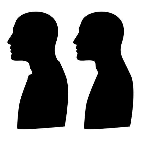 Mockup, template silhouette profile portrait of a man. Sign. illustration