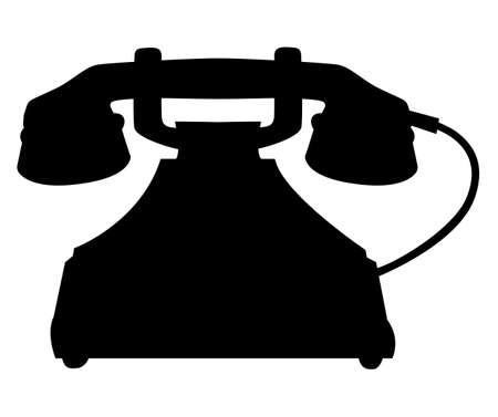 Antique rotary dial telephone with a wire. Vector silhouette illustration
