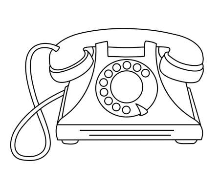 Antique rotary dial telephone with a wire. Vector linear illustration