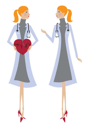 Young woman therapist cardiologist with heart in hands and stethoscope. Vector illustration