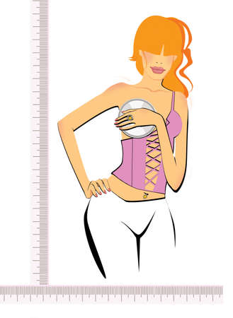 Girl with a good figure on the background of a ruler and a magnifying glass. Measurement of beauty. Imagens
