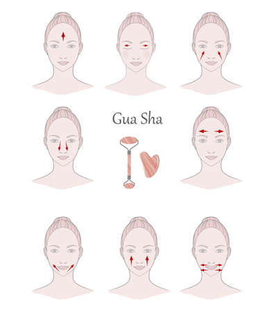 Chinese massage with Gua Sha stones. Lines of massage on the face, vector illustration Vector Illustration