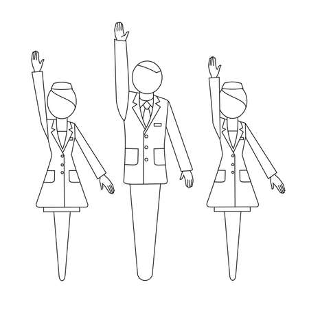 Man in a business suit, woman in a white coat with a raised hand. Voting. Sign and symbol. Pharmacy and medicine. Vector illustration uniform silhouette