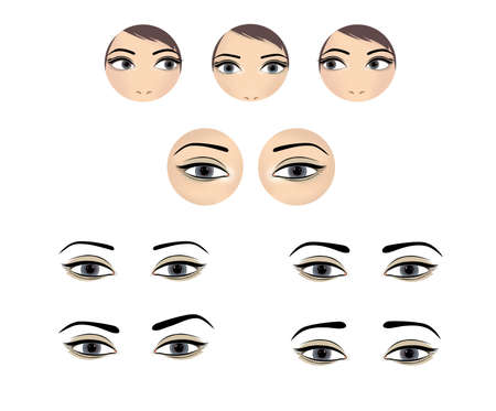 Beautiful female eyes look in different directions with different expressions. Illustration isolated on white background.
