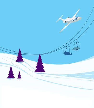 Winter vacation at the ski resort. Ski slope with ski lifts and Christmas trees on a blue sky background. A passenger airliner in a bend. Illustration Standard-Bild - 161210417