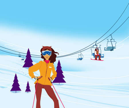 Winter vacation. Portrait of female skier standing on a ski slope at a sunny day against ski-lift on the background. Illustration