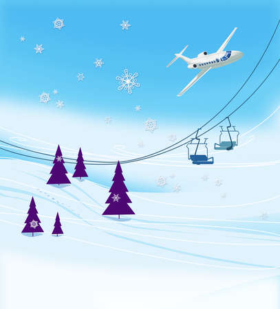 Winter vacation at the ski resort. Ski slope with ski lifts and Christmas trees on a blue sky background. A passenger airliner in a bend. Illustration Standard-Bild - 161210419