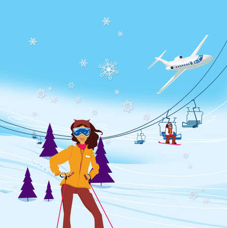Winter vacation. Portrait of female skier standing on a ski slope at a sunny day against ski-lift on the background. Illustration Standard-Bild - 161210420